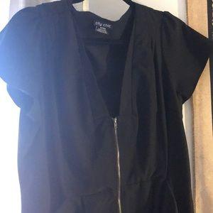 City Chic Black Zip Dress